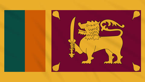 Sri Lanka flag waving cloth, background loop Animation