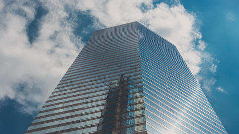 Corporate Buildings, Blue Sky and Clouds in City, Clouds Mirroring in Windows Live Action