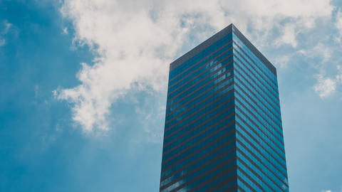 Corporate Buildings, Blue Sky and Clouds in City, Clouds Mirroring in Windows Footage
