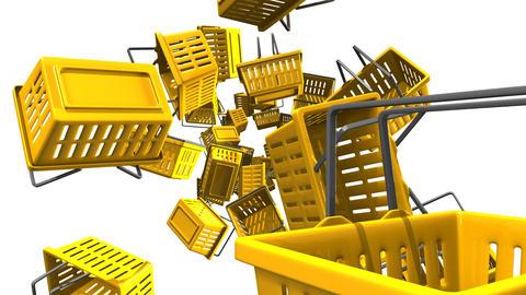 Yellow shopping baskets on white background Animation