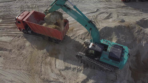Excavator Digging Sand And Dust Working During Road Works, Close Up Shot of Footage