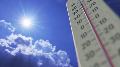 Temperature drops to 10 ten degrees centigrade, thermometer close-up. Weather Live Action