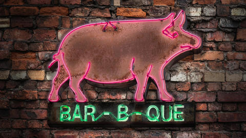 Flashing Neon Barbecue Footage