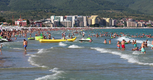 People On Crowded Beach In Bulgaria Live Action