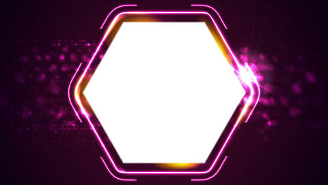Retro glowing neon shiny hexagon motion background Animation