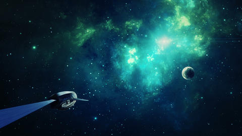 Space scene. Blue and green nebula with planet and spaceship. Elements furnished by NASA. 3D Animation