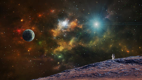 Space scene. Astronaut on planet with colorful nebula. Elements furnished by NASA. 3D rendering Animation