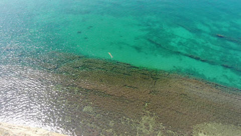 Sea shelf formed by sediments of volcanic origin Transparent water with algae Live Action