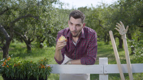 Resting young farmer eating tasty apple standing in the foreground, the summer Footage
