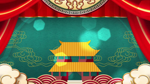 Chinese Pavilion Paper-cut Animation Evening Background led Video Live Action