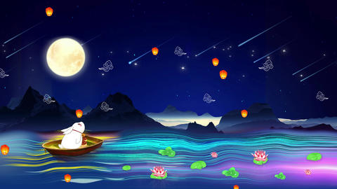 Full moon mid autumn festival jade rabbit night scene mid autumn festival Animation