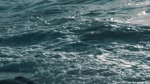 Close up shot of sea waves, aqua foam. Waves crashing powerful and ocean water splashing Live Action