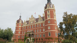 New Castle in Muskauer Park. Cross-border park placed in Germany and in Poland Footage
