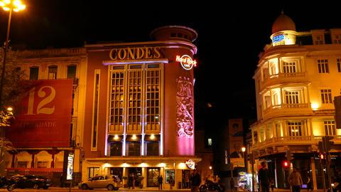 Hard Rock cafe Lisbon at night Footage