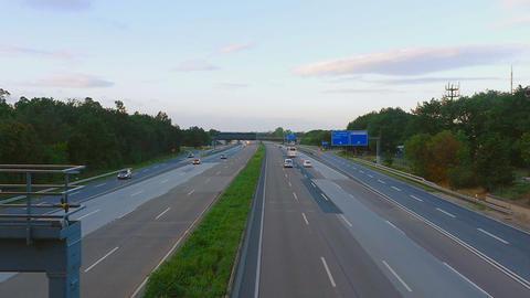 Four-way Autobahn near Frankfurt airport Live Action