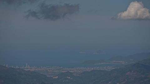 Grey Cloud Motion above Hills Resort City Ocean Footage
