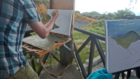 Closeup Painters Pictures in Oils Easels Palettes on Balcony Footage