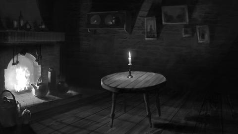 Dark room with a fireplace and candlelight Animation