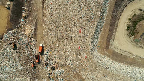 Big Orange garbage Truck moves through a huge landfill a Huge Garbage Dump Live Action