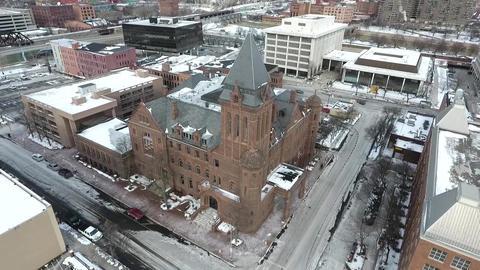 aerial view, america, winter, snow, church Footage