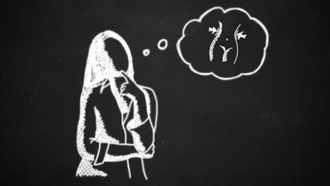 chalk drawing animation of young woman thinking Lose weight chalk concept icon Animation