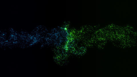 Blue Green Colliding Particles Intro Logo Motion Background Animation