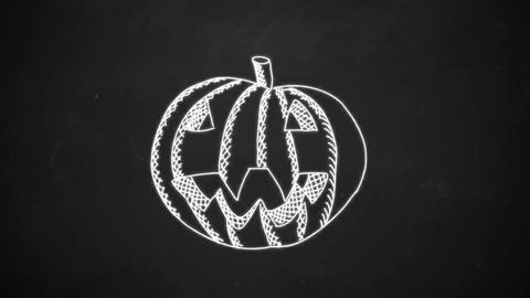 hand drawing line art showing halloween pumpkin with white chalk on blackboard Animation