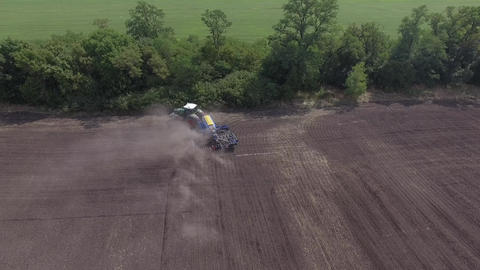 Spring sowing tractor Fendt 936 processed agricultural land Footage