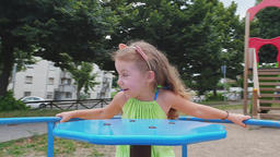 Handsome girl has fun with parents outdoors Archivo