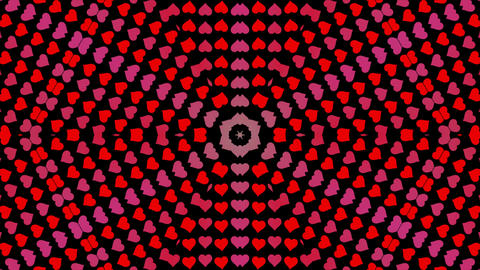 Isolated colorful rotating hearts background. Geometrical animation, ornaments Animation