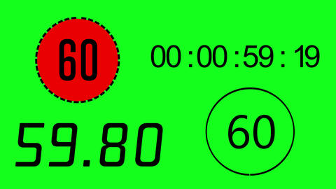 4 different time keeper on green screen. Counting 0 to 60 second. Electronic timer with alpha Animation