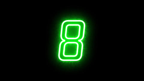 Green energy neon counting seconds 0 to 20. Led numbers on black background, alpha channel Animation