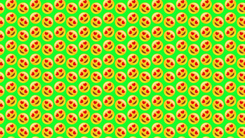 Isolated heart eye smiley background. A lot of emoji are rotating. Application sign, comic smiley Animation