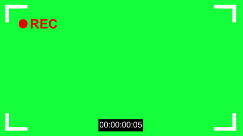 Cinematic camcorder, recorder. viewfinder with green screen, alpha channel. Recording concept with Animation