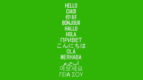 """""""Hello"""" word in 13 language. Isolated animated words, Italian, Chinese, French, German, Spanish, Animation"""