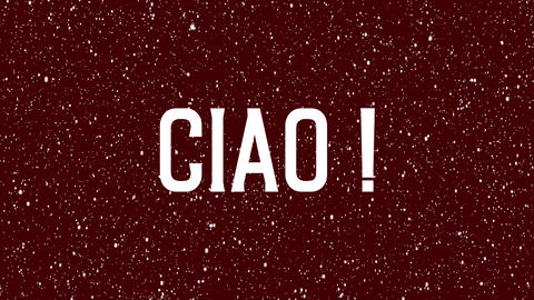 "Animated text of ""Ciao"" Italian word. Isolated letter. Hi, hello meaning in Italy Animation"