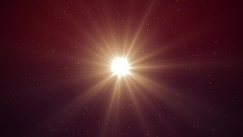 Sun flare and particles with glow. Shiny spotlight like sun, raining glitters Animation