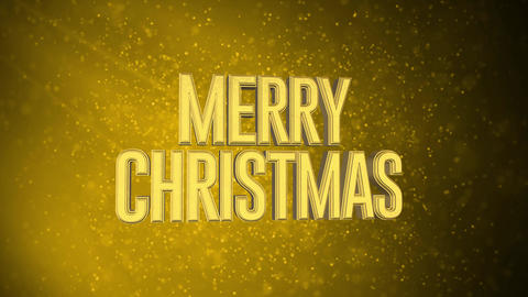 """""""MERRY CHRISTMAS"""" text in front of beautiful golden particles, glitters background. Greeting Animation"""
