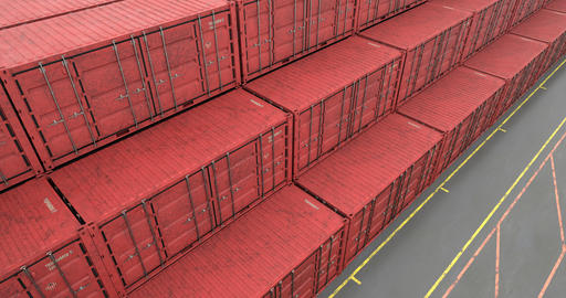 High angle view of stacked intermodal shipping containers at transportation port Animation