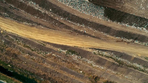 Aerial photography of Garbage And Toxic Lake At the Landfill Live Action