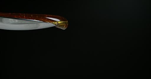 Honey Flowing against Black Background, Slow Motion 4K Live Action