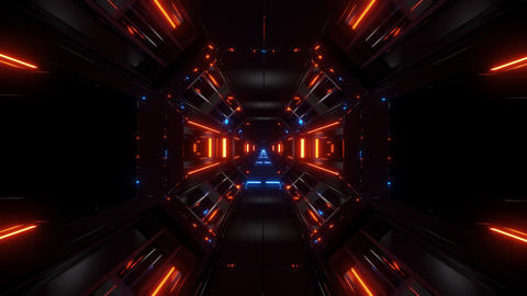 dark space sci-fi tunnel airship corridor fly through vj... Stock Video Footage