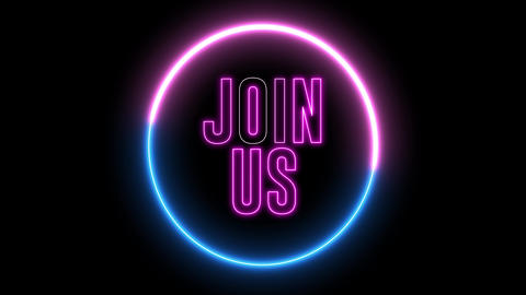 "Neon text of ""JOIN US"" inside neon, led swirling round Animation"