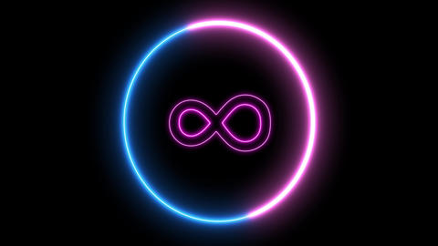 Neon symbol of infinity inside swirling round Animation
