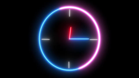 Neon analog clock, timer object. Time is running out, 1 day, 24 hour is going speedy Animation