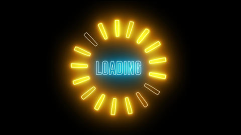 Neon loading round and colorful lights. led light digital web circle Animation