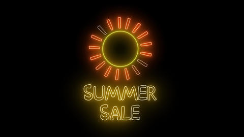 "Neon ""SUMMER SALE"" text and shiny sun. Sales team, promotion object Animation"