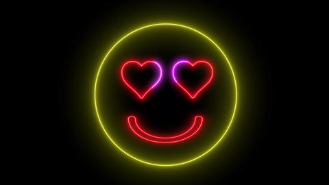 Neon heart eye smiley face. Glowing led light, smiling lover emoji Animation