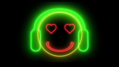Neon smiley face with headphone. Gamer, DJ emoji, playing game or listening music. Happy glowing Animation