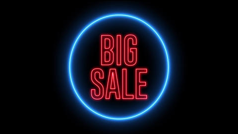 "Neon text of ""BIG SALE"" inside neon shape. Cyber Monday, Black Friday concept Animation"